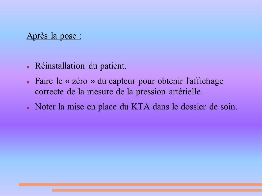 Après la pose : Réinstallation du patient. Faire le « zéro » du capteur pour obtenir l affichage correcte de la mesure de la pression artérielle.