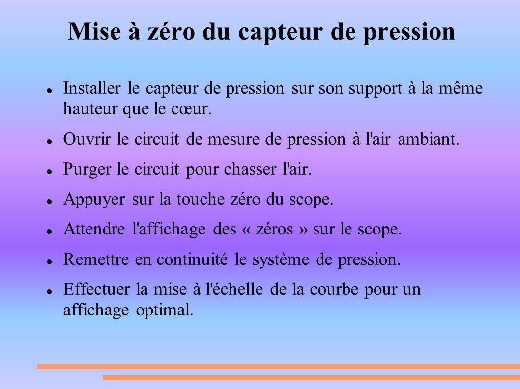 Mise à zéro du capteur de pression