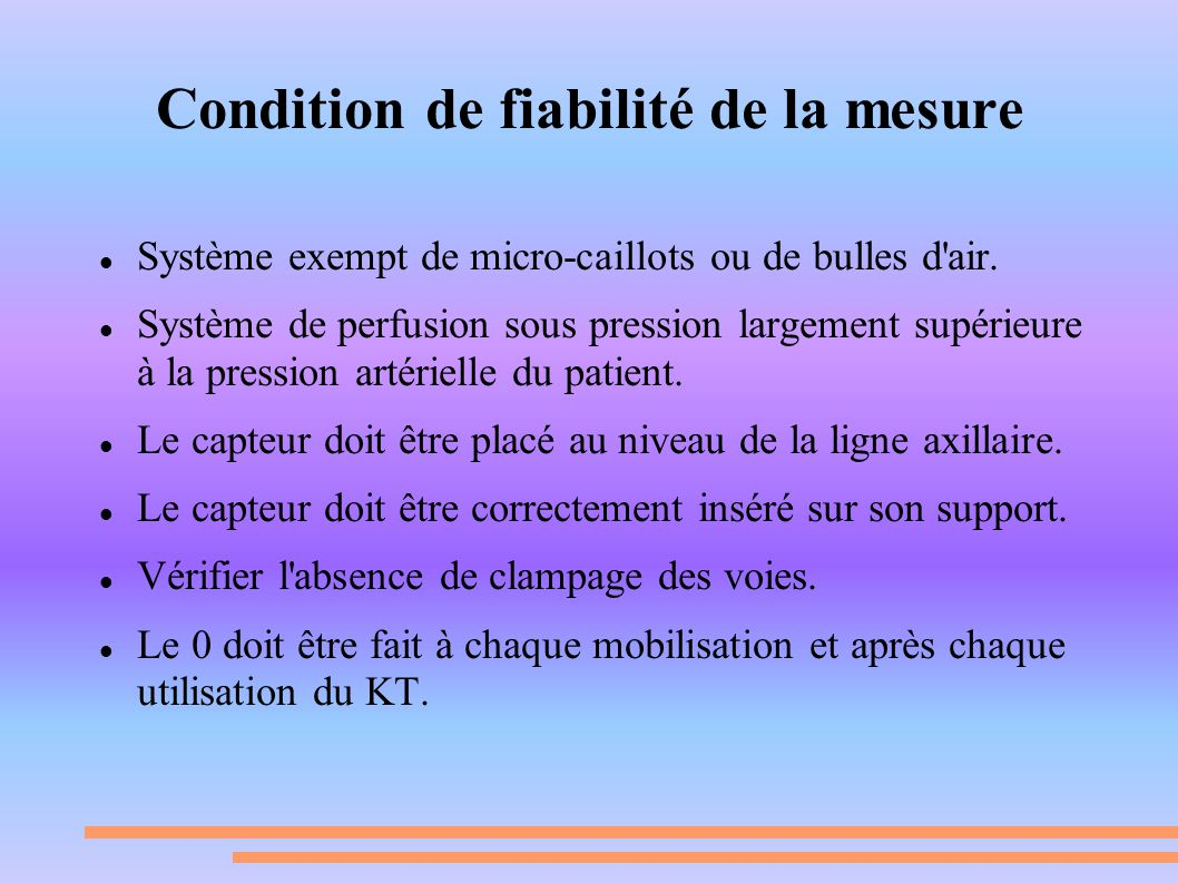 Condition de fiabilité de la mesure