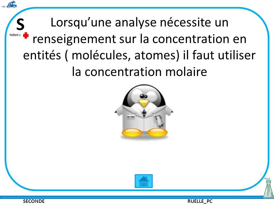 Lorsqu'une analyse nécessite un renseignement sur la concentration en entités ( molécules, atomes) il faut utiliser la concentration molaire