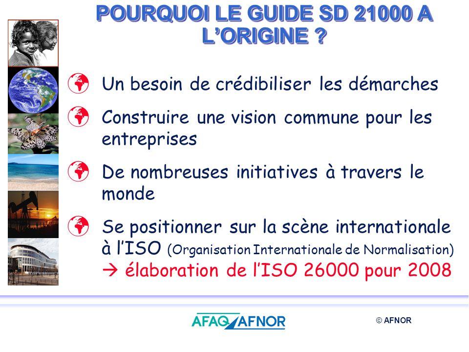 POURQUOI LE GUIDE SD 21000 A L'ORIGINE