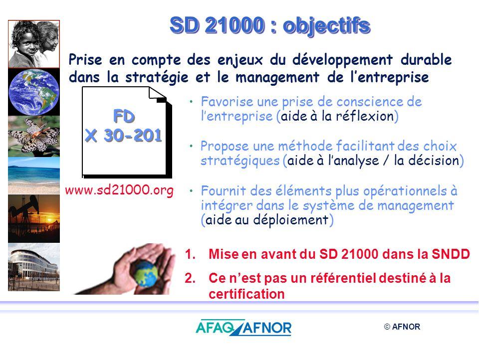SD 21000 : objectifs Prise en compte des enjeux du développement durable dans la stratégie et le management de l'entreprise.