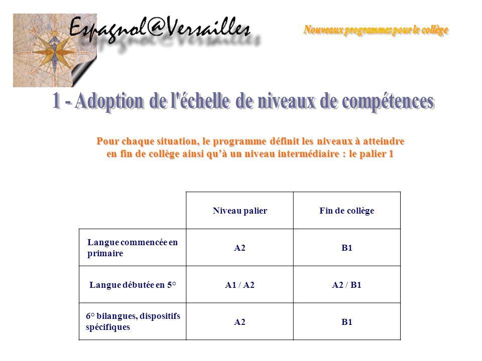 1 - Adoption de l échelle de niveaux de compétences