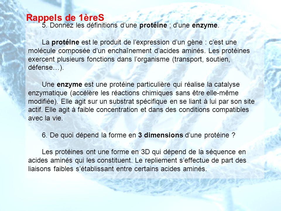 Rappels de 1èreS 5. Donnez les définitions d'une protéine ; d'une enzyme.