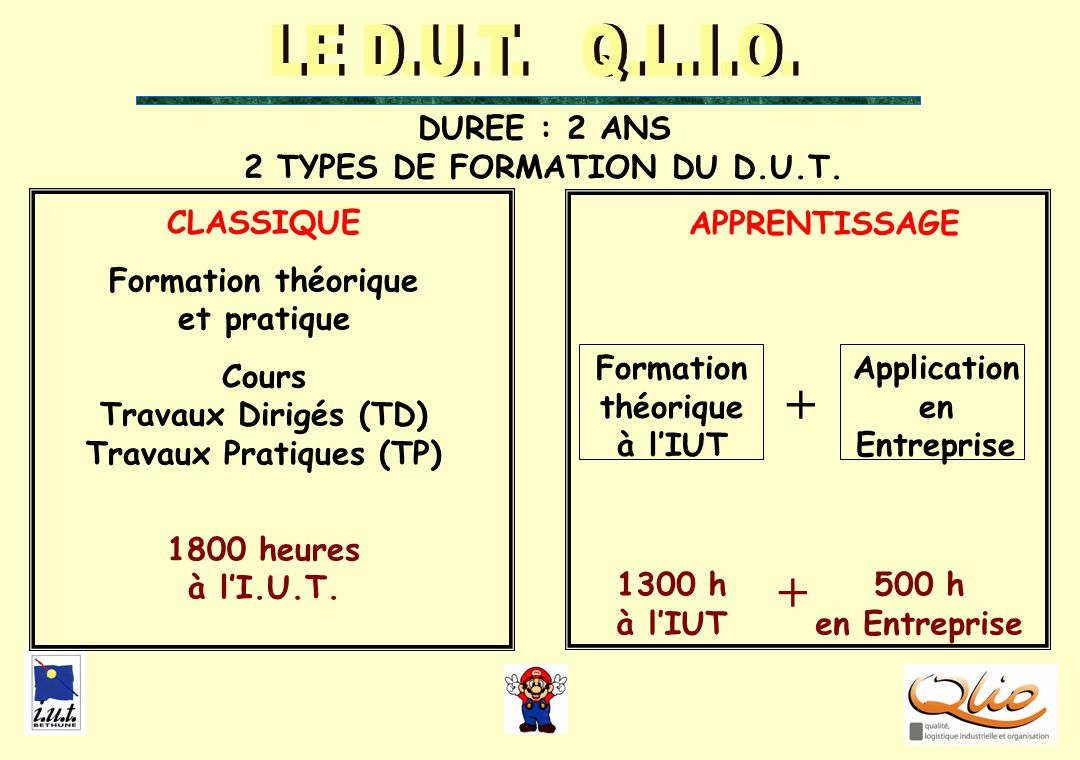 DUREE : 2 ANS 2 TYPES DE FORMATION DU D.U.T.