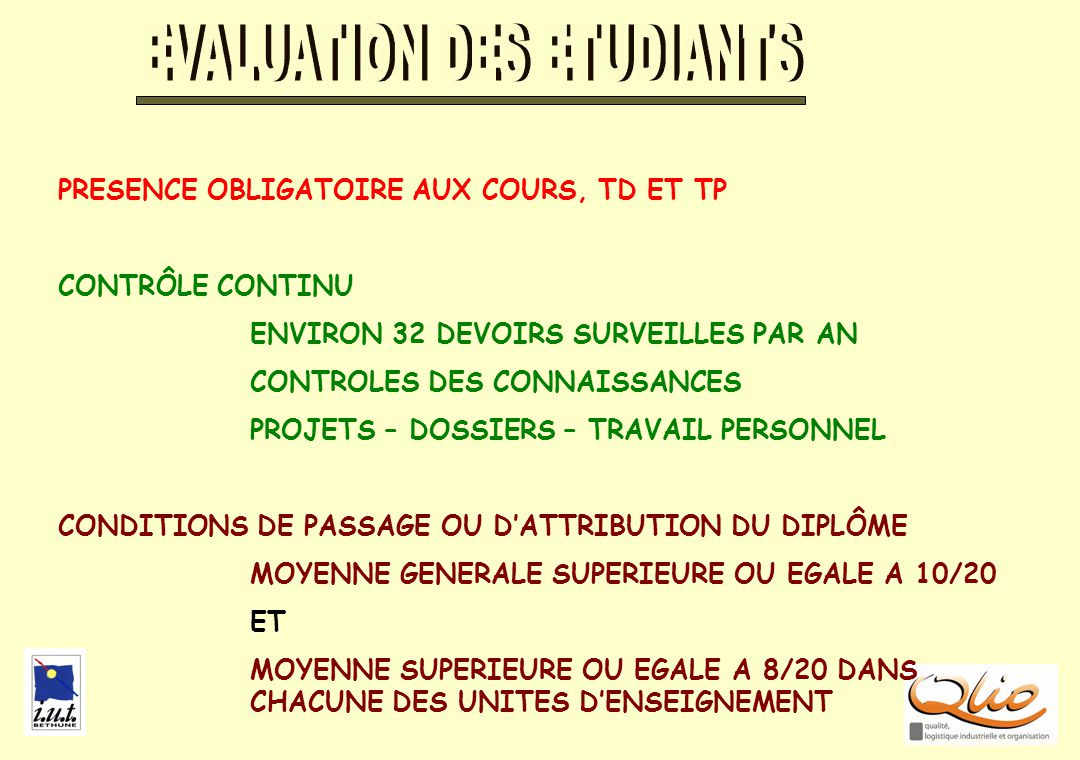 EVALUATION DES ETUDIANTS
