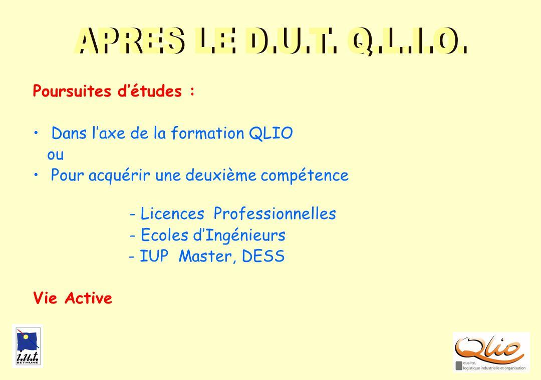 POURSUITES APRES LE D.U.T. Q.L.I.O. Poursuites d'études :