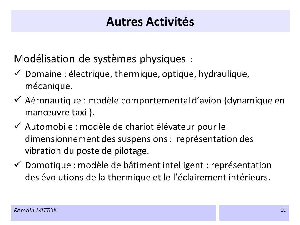 Autres Activités Modélisation de systèmes physiques :