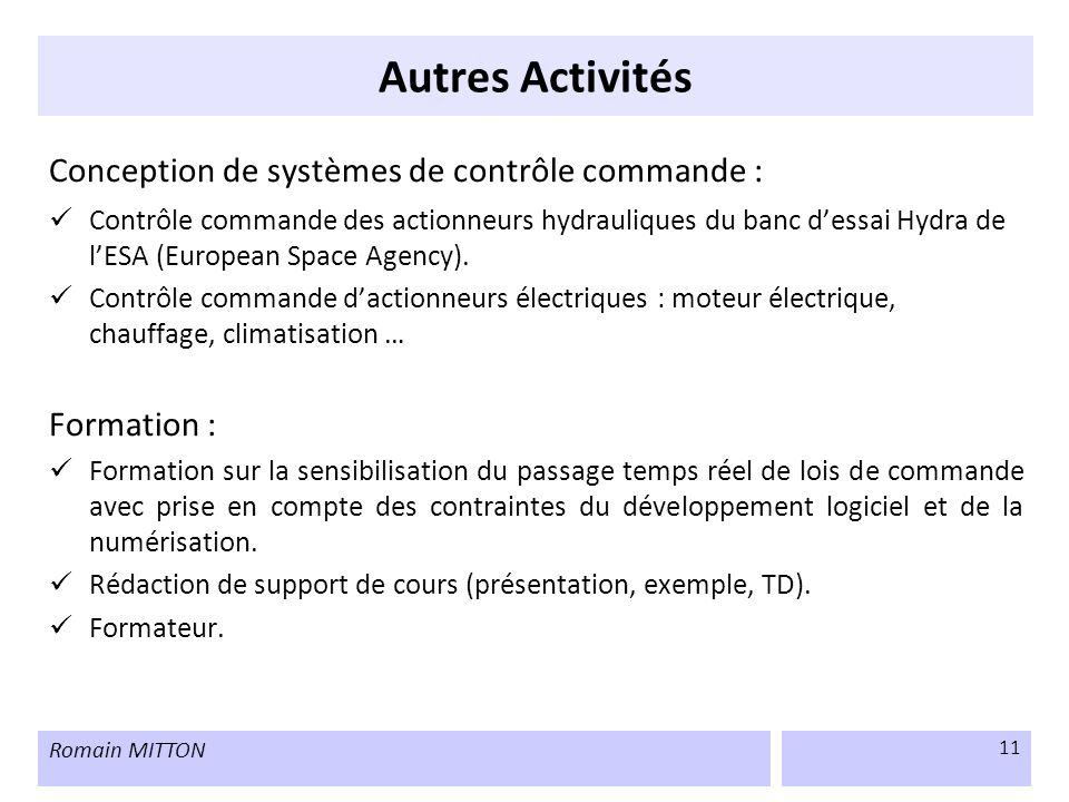 Autres Activités Conception de systèmes de contrôle commande :