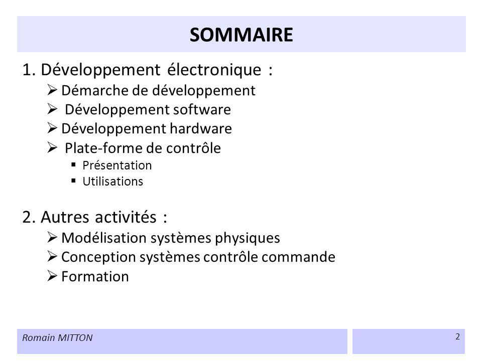 SOMMAIRE 1. Développement électronique : 2. Autres activités :