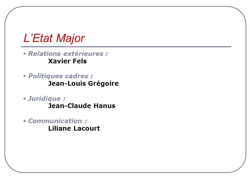 L'Etat Major Relations extérieures : Xavier Fels Politiques cadres :