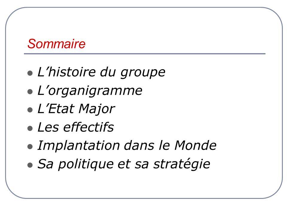 Sommaire L'histoire du groupe L'organigramme L'Etat Major
