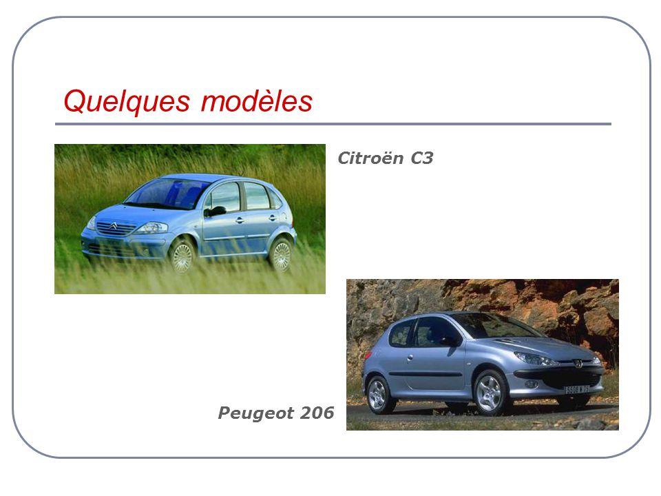 Quelques modèles Citroën C3 Peugeot 206