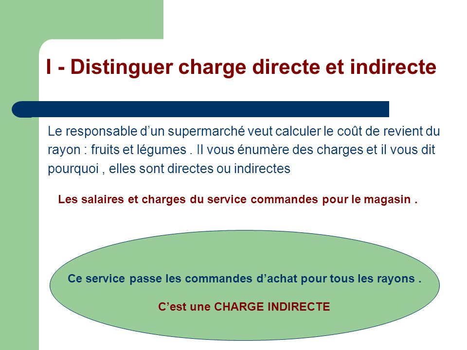 I - Distinguer charge directe et indirecte