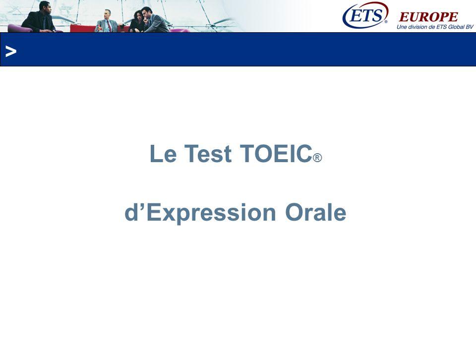 Le Test TOEIC® d'Expression Orale