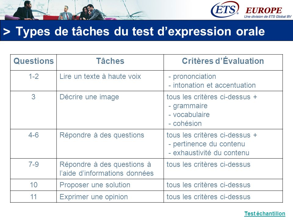 Types de tâches du test d'expression orale