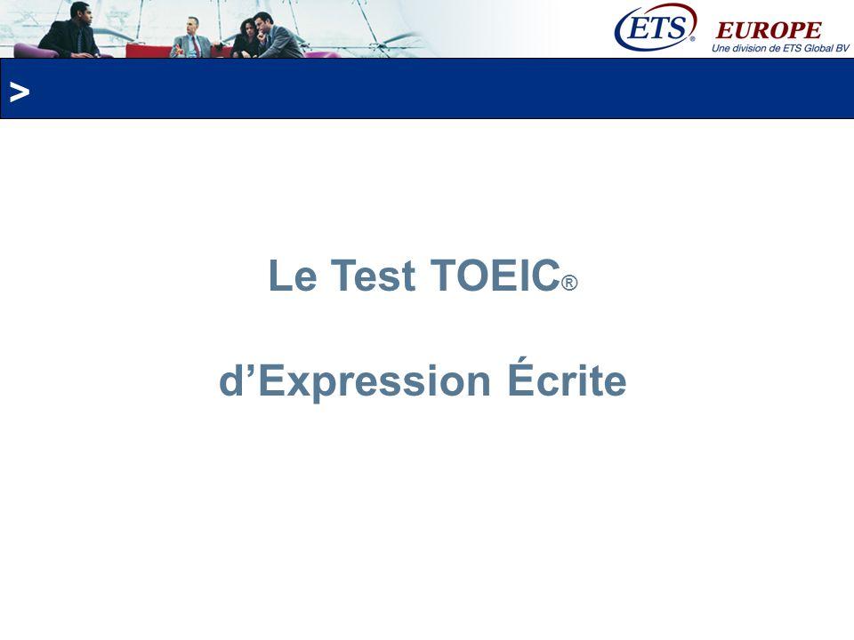 Le Test TOEIC® d'Expression Écrite