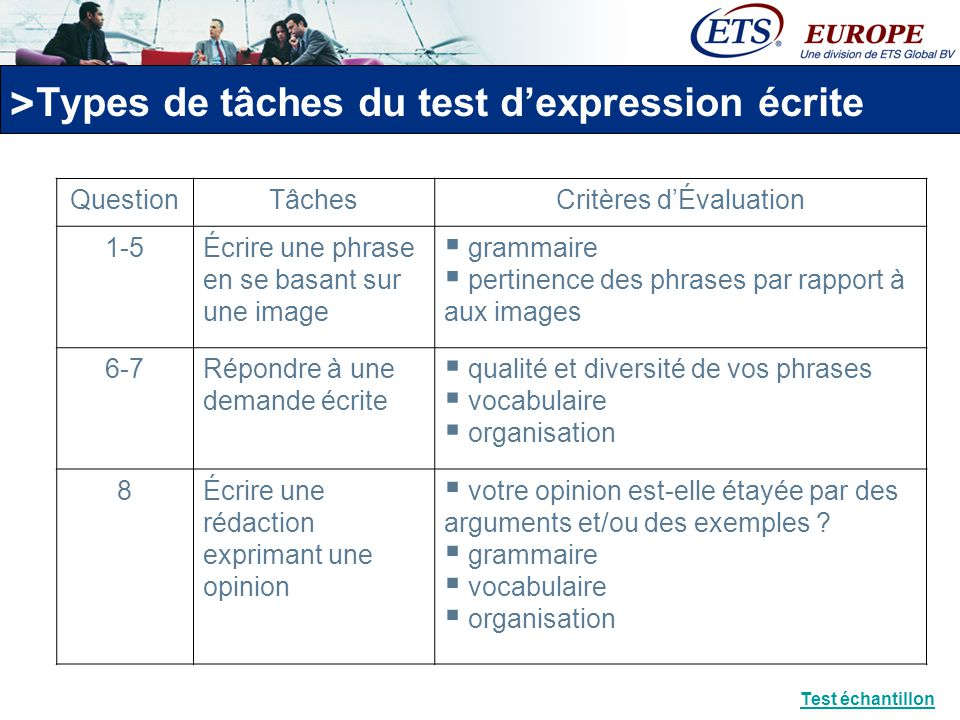 Types de tâches du test d'expression écrite