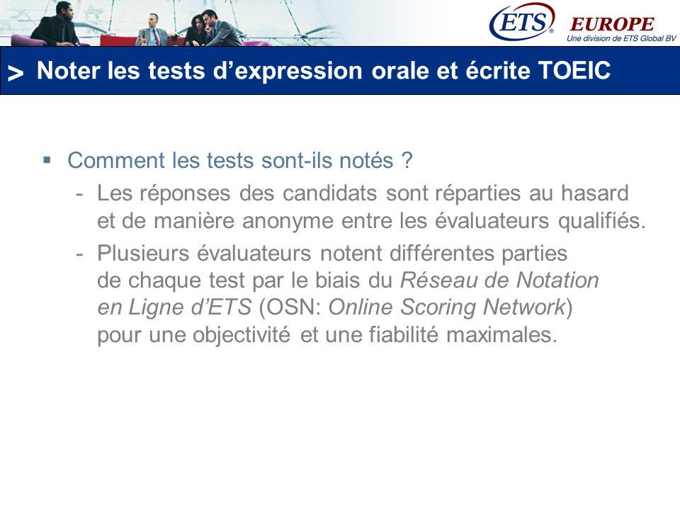 Noter les tests d'expression orale et écrite TOEIC