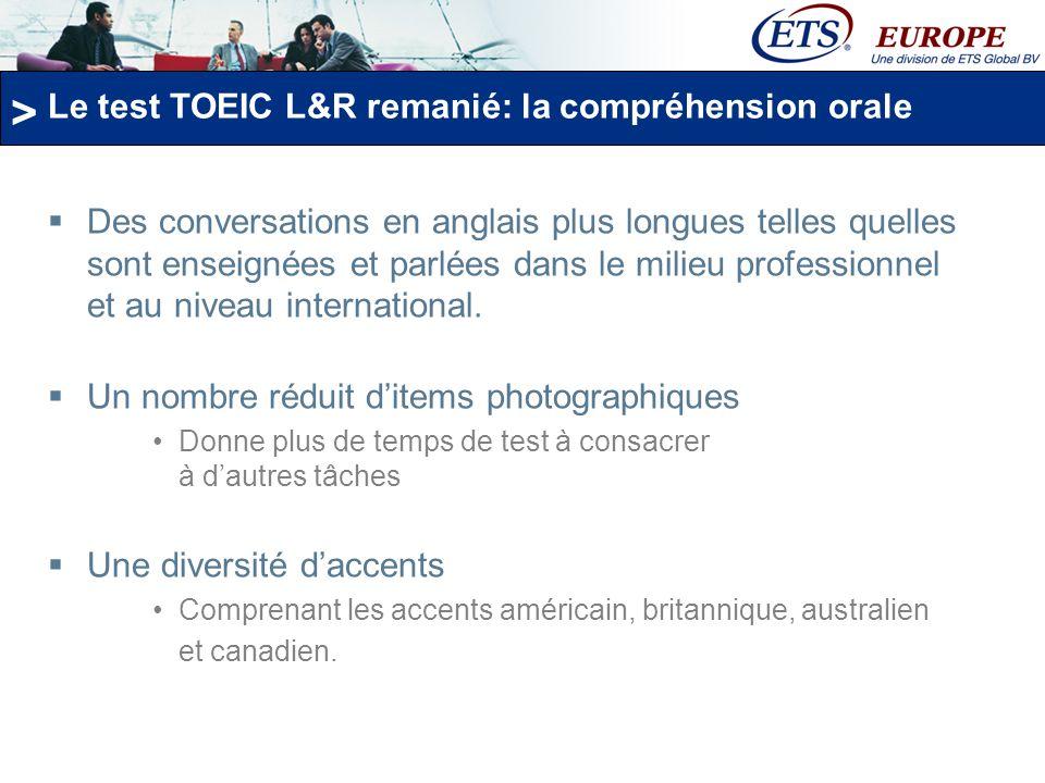 Le test TOEIC L&R remanié: la compréhension orale