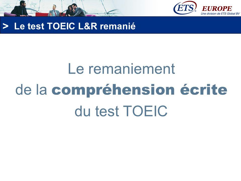 Le test TOEIC L&R remanié