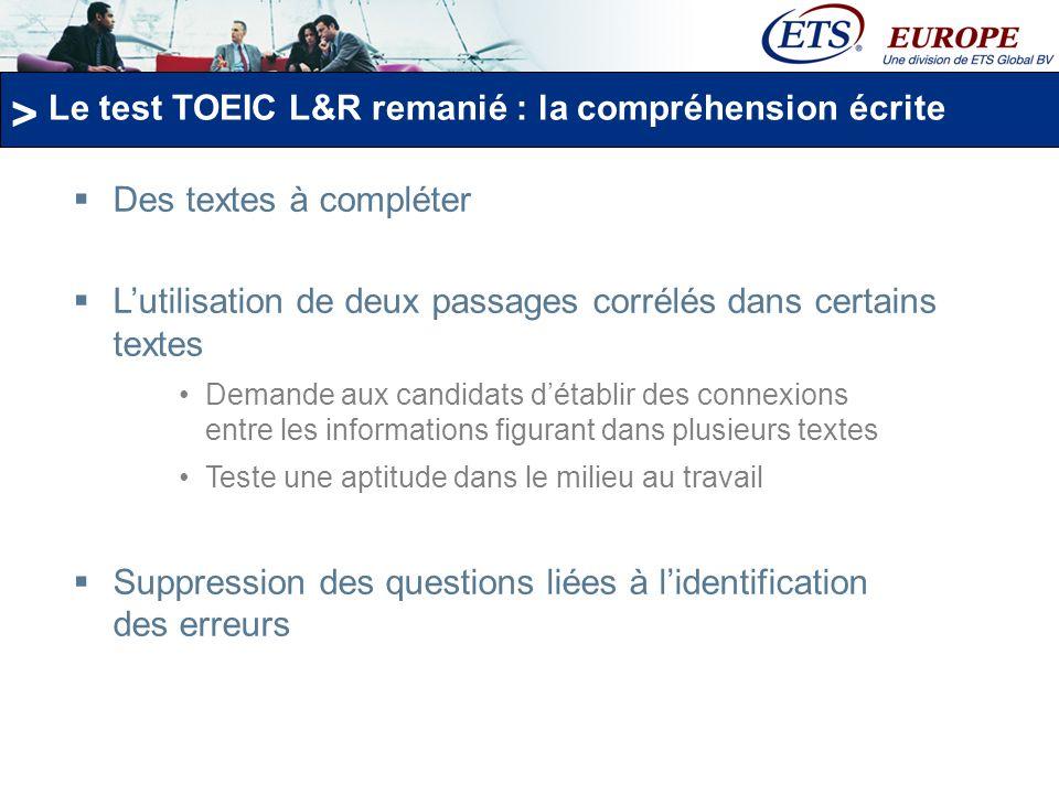 Le test TOEIC L&R remanié : la compréhension écrite