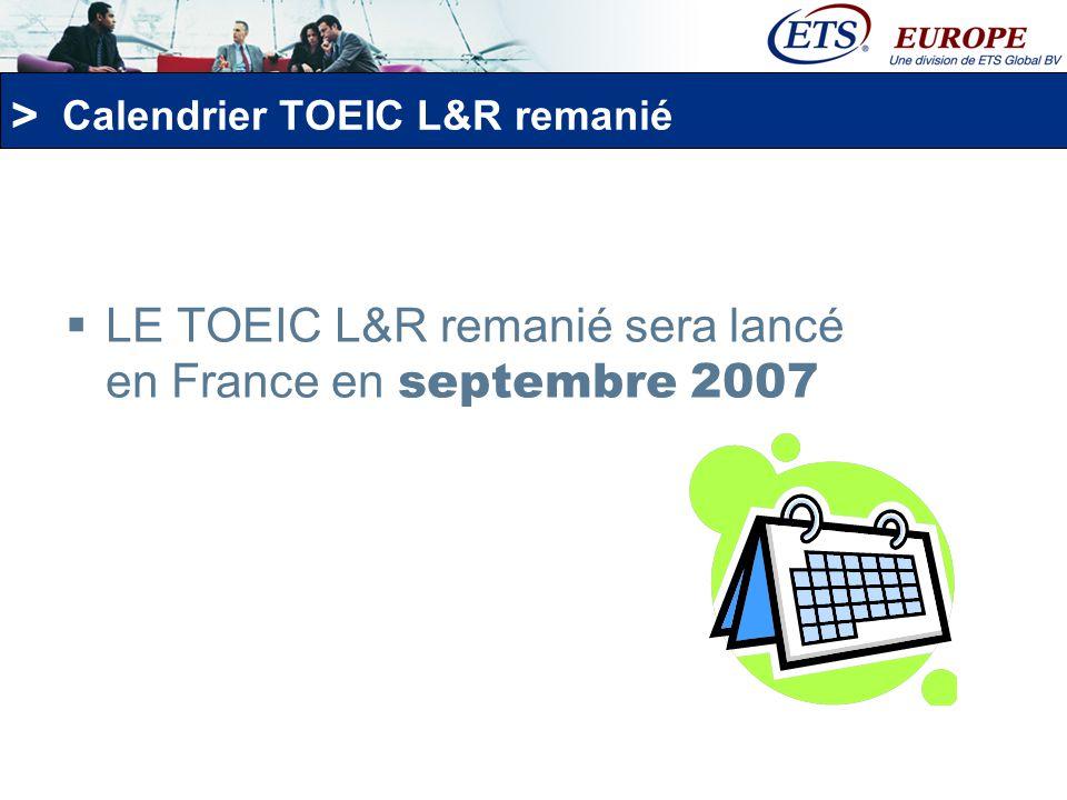 Calendrier TOEIC L&R remanié