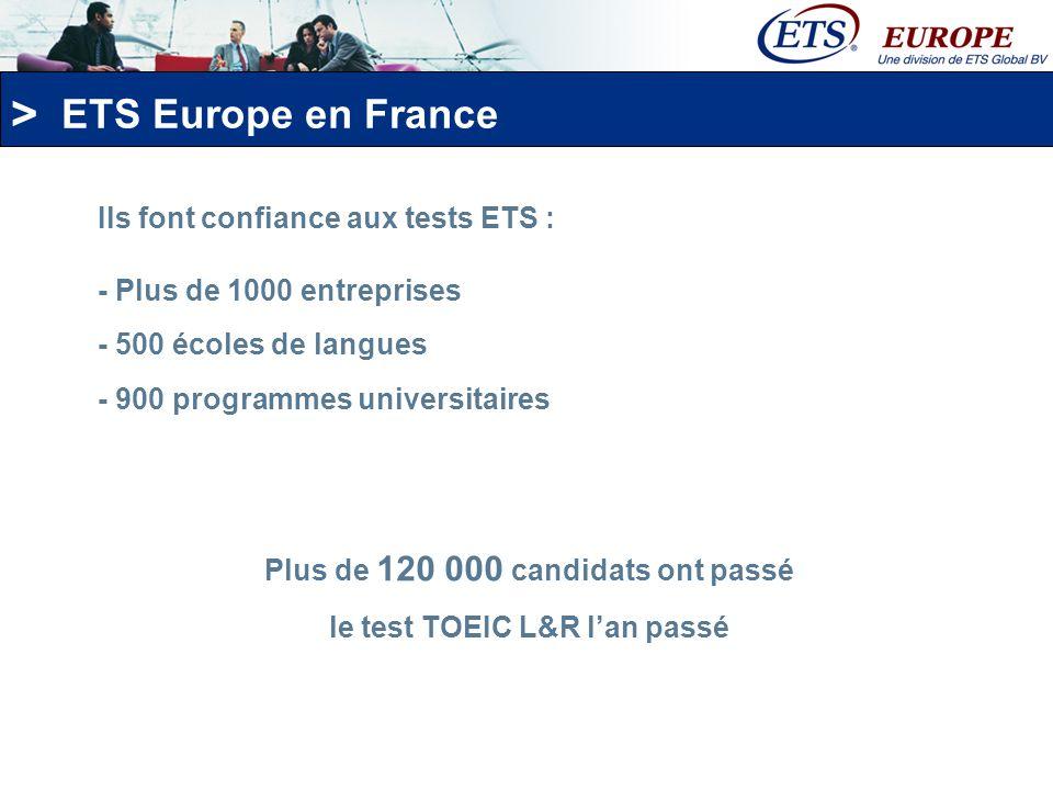 Plus de 120 000 candidats ont passé le test TOEIC L&R l'an passé