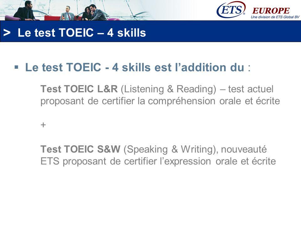 Le test TOEIC - 4 skills est l'addition du :