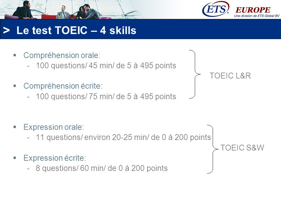 Le test TOEIC – 4 skills Compréhension orale:
