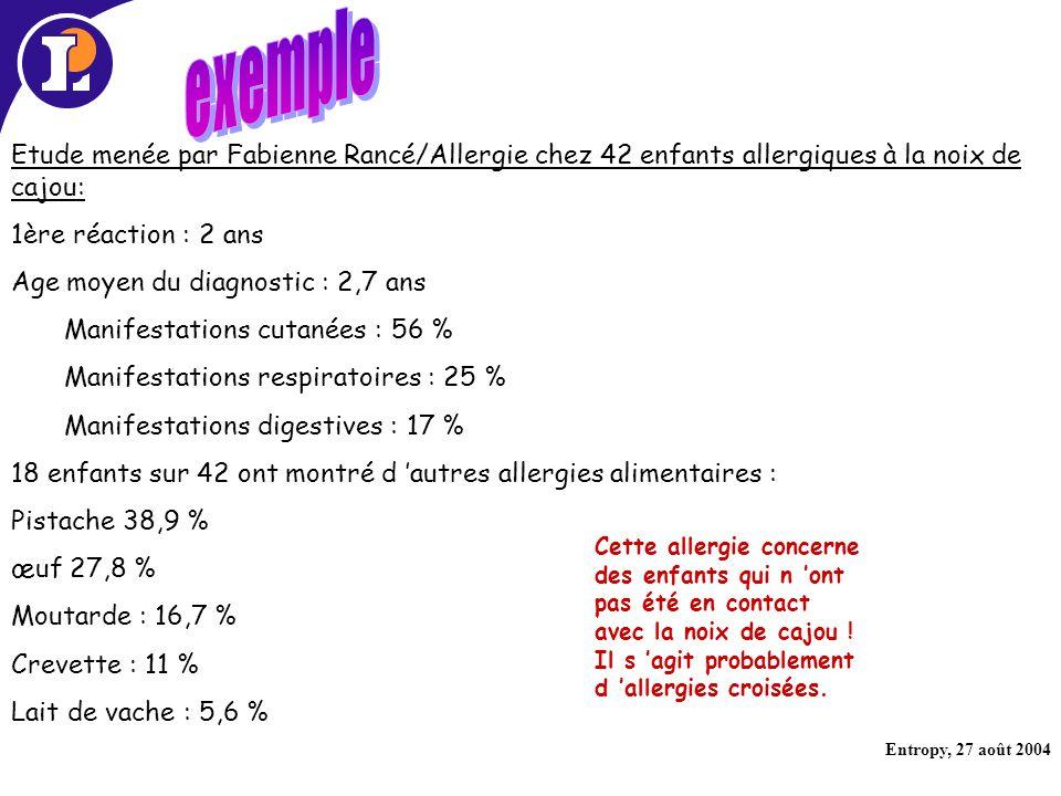 exemple Etude menée par Fabienne Rancé/Allergie chez 42 enfants allergiques à la noix de cajou: 1ère réaction : 2 ans.