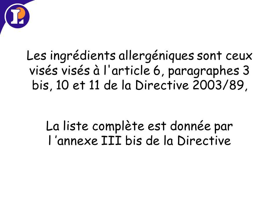 Les ingrédients allergéniques sont ceux visés visés à l article 6, paragraphes 3 bis, 10 et 11 de la Directive 2003/89, La liste complète est donnée par l 'annexe III bis de la Directive