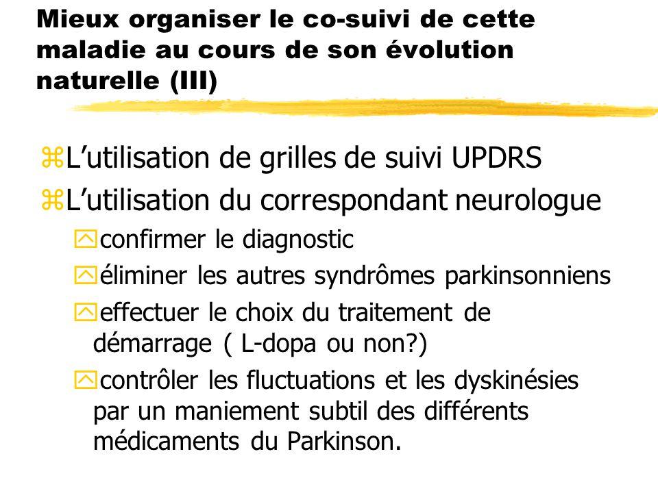L'utilisation de grilles de suivi UPDRS