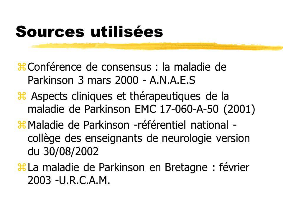 Sources utilisées Conférence de consensus : la maladie de Parkinson 3 mars 2000 - A.N.A.E.S.