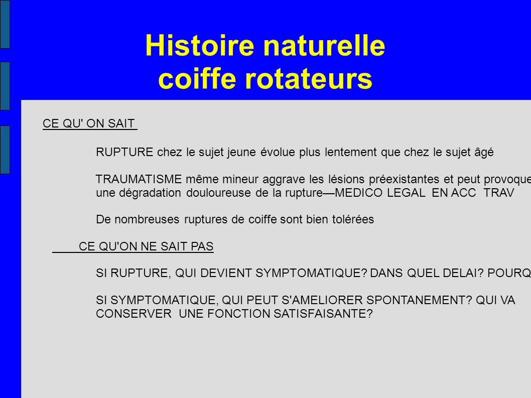 Histoire naturelle coiffe rotateurs