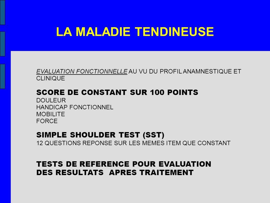 LA MALADIE TENDINEUSE SCORE DE CONSTANT SUR 100 POINTS