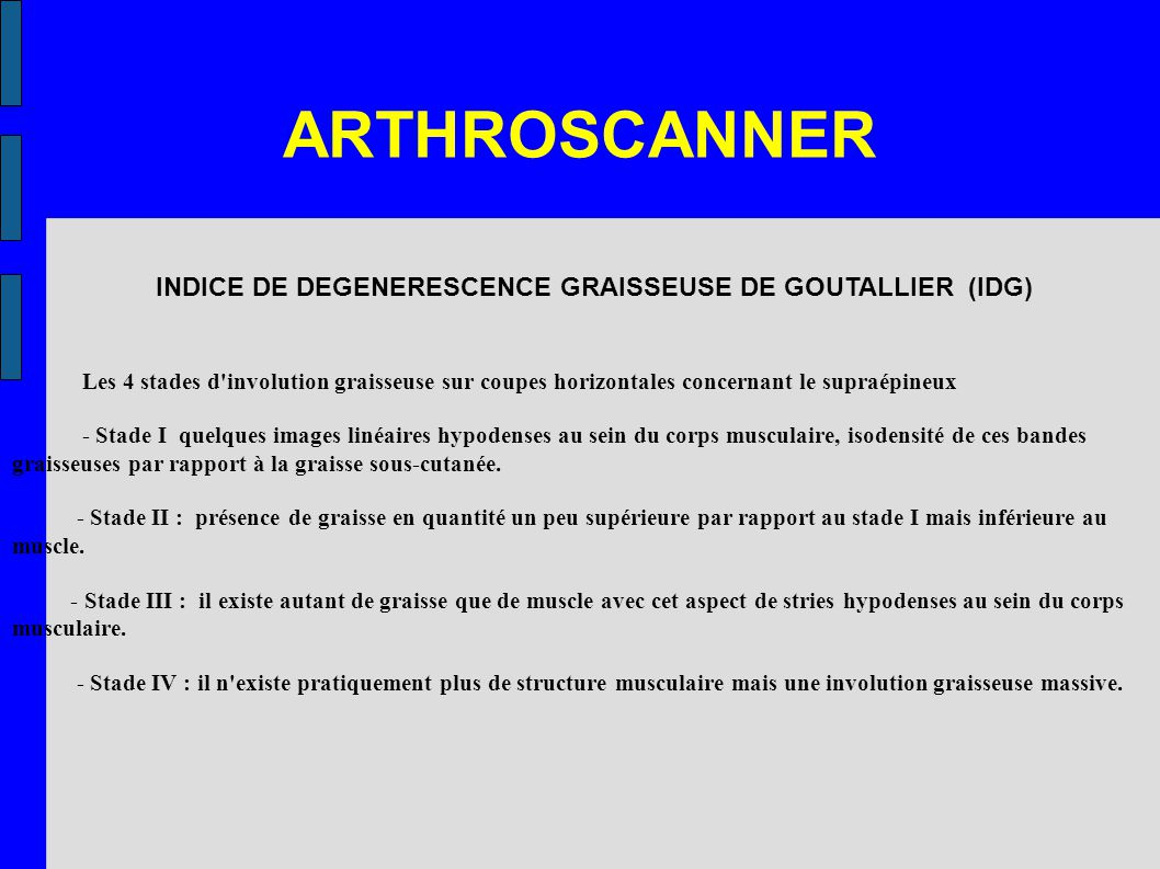 ARTHROSCANNER INDICE DE DEGENERESCENCE GRAISSEUSE DE GOUTALLIER (IDG)