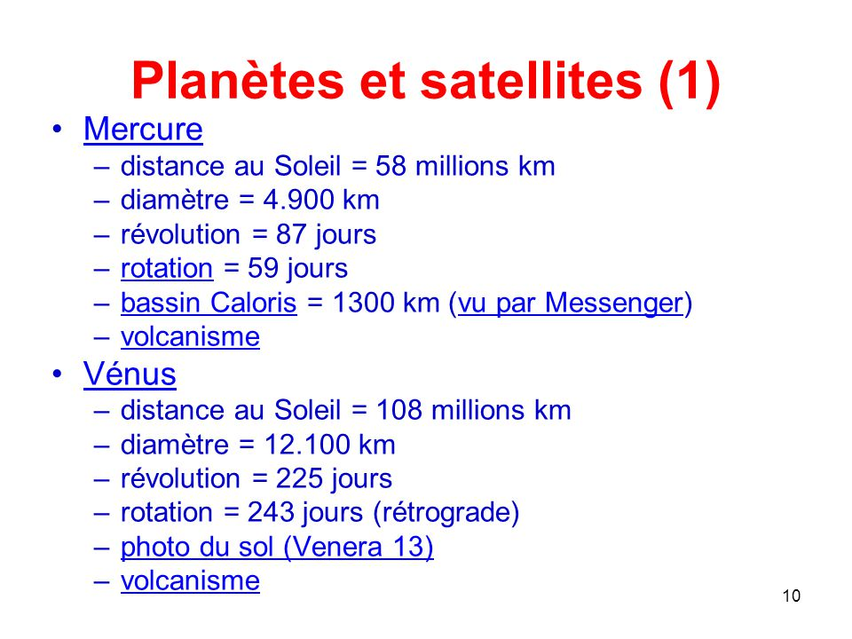 Planètes et satellites (1)