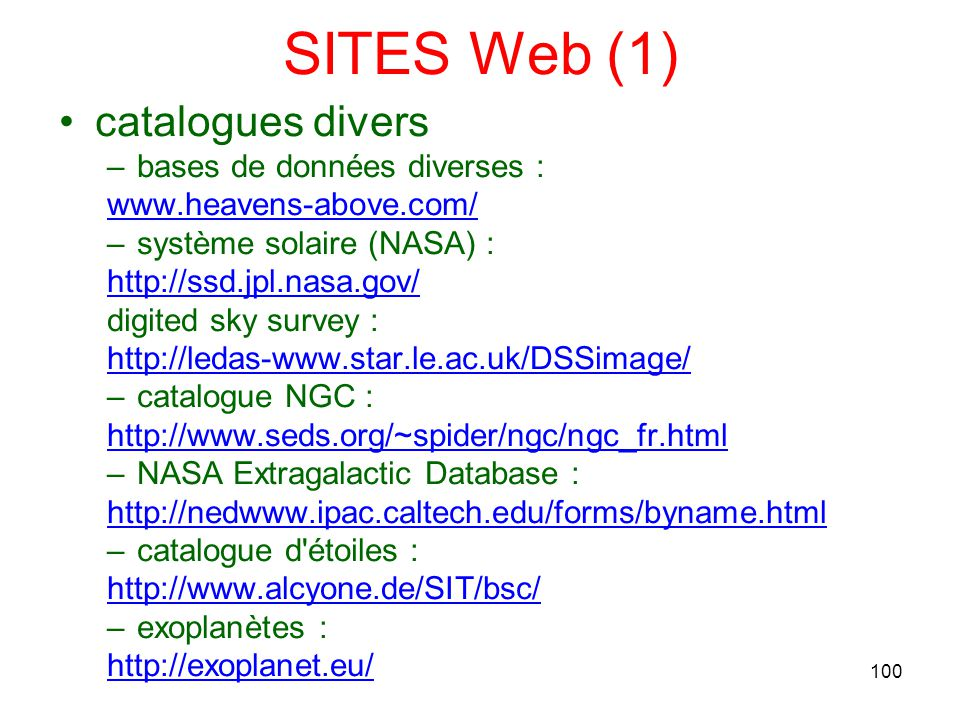 SITES Web (1) catalogues divers bases de données diverses :