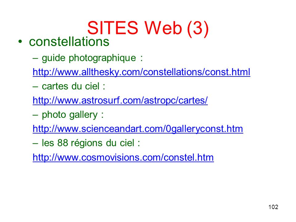 SITES Web (3) constellations guide photographique :