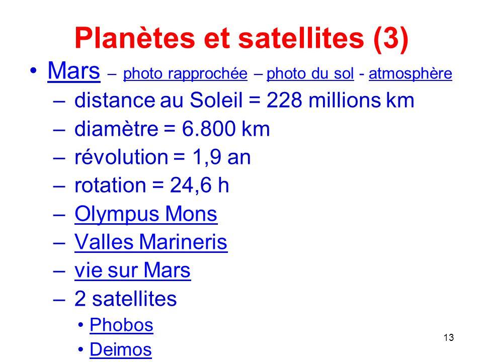 Planètes et satellites (3)