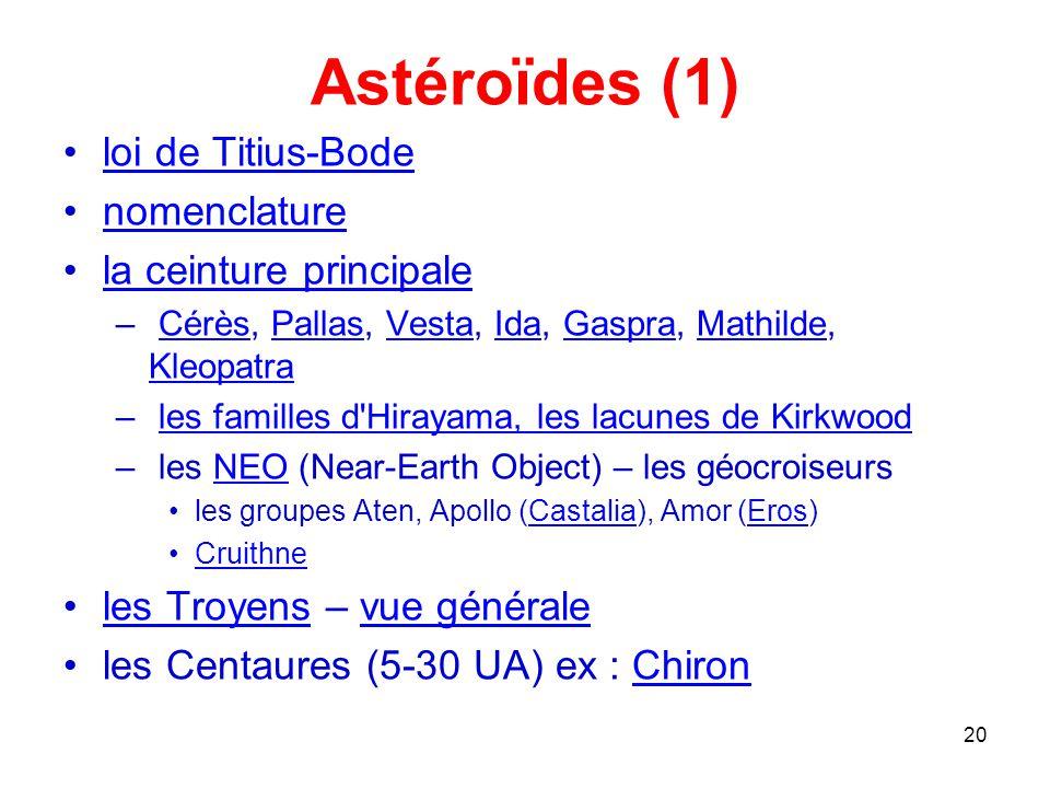 Astéroïdes (1) loi de Titius-Bode nomenclature la ceinture principale