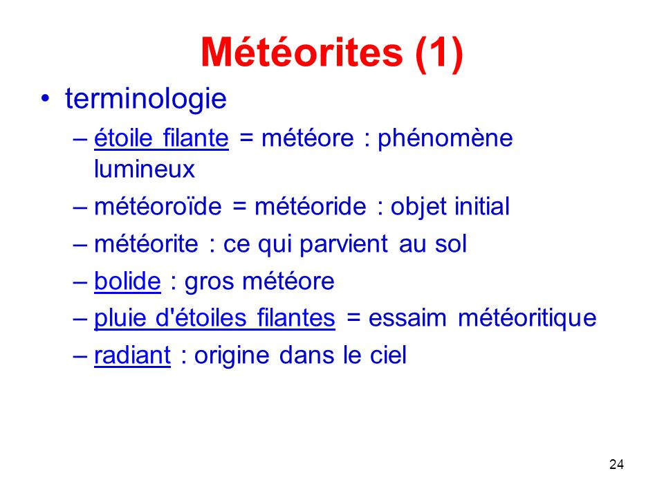 Météorites (1) terminologie