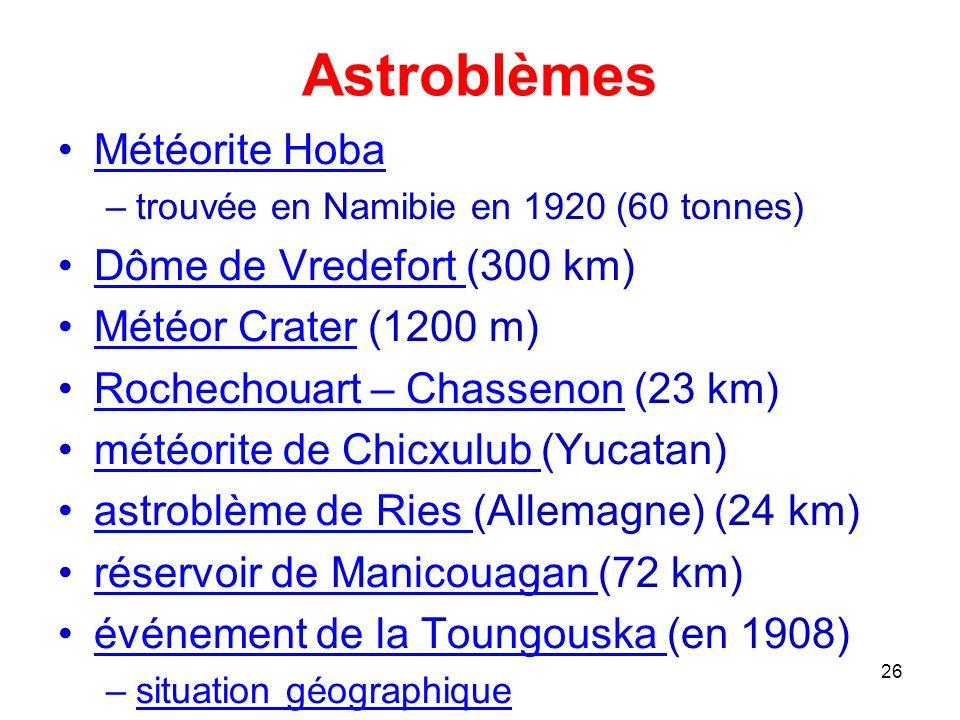 Astroblèmes Météorite Hoba Dôme de Vredefort (300 km)