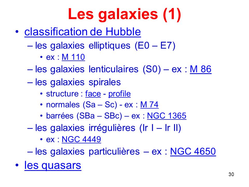 Les galaxies (1) classification de Hubble les quasars