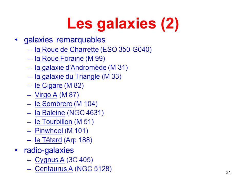Les galaxies (2) galaxies remarquables radio-galaxies