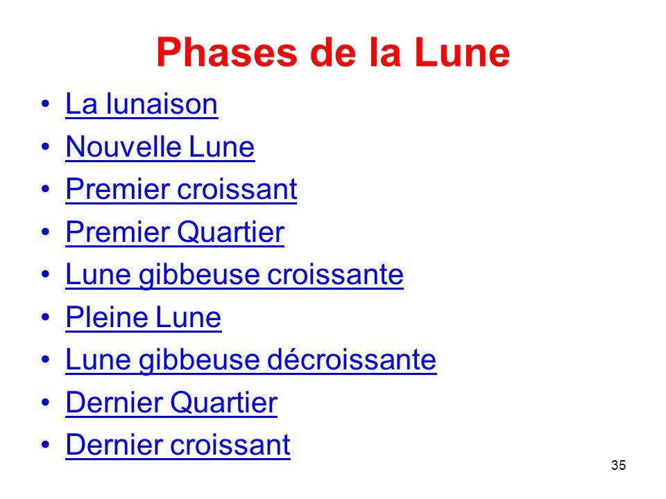 Phases de la Lune La lunaison Nouvelle Lune Premier croissant