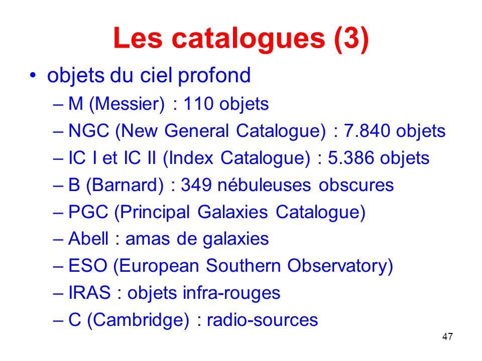 Les catalogues (3) objets du ciel profond M (Messier) : 110 objets