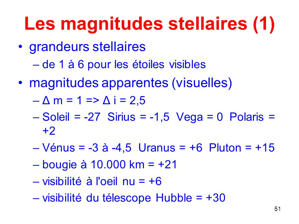 Les magnitudes stellaires (1)