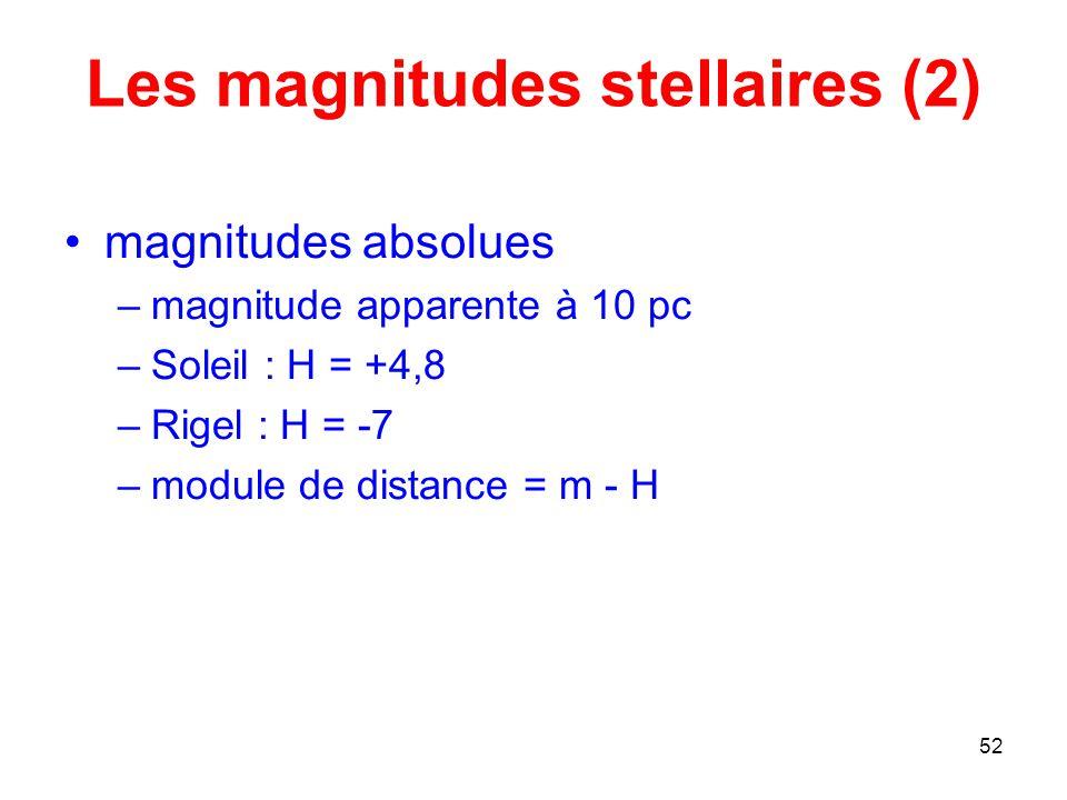 Les magnitudes stellaires (2)